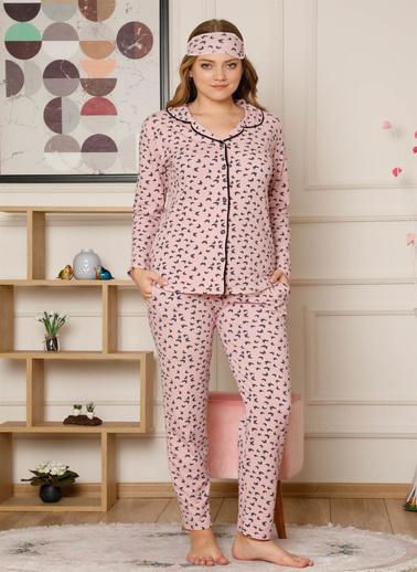 Akbeniz Kadın Pamuklu Düğmeli Cepli Şardonlu Uzun Kol Pijama Takım 2494 Pembe